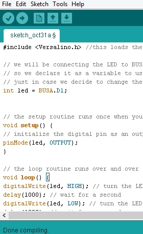This is what the Versalino Blink sketch looks like in the Arduino IDE once you have it copied over.
