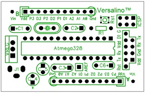 This is a top view of the Versalino Uno PCB design.
