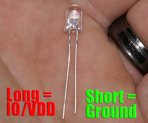 This is a picture of an LED from Virtuabotix.com to illustrate how to identify Ground and Vdd pins of an LED.